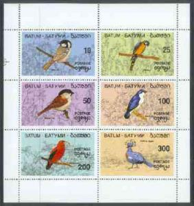 Batum 1994 - One M/S Colorful Birds Wild Animal Nature Parrot Fauna Stamps MNH