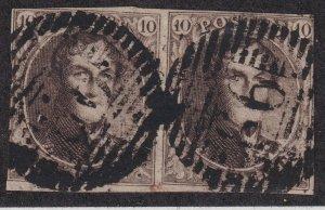 Sc# 3 Belgium 1850 used pair King Leopold I 10¢ brown thin paper CV $200.00