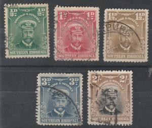 SOUTHERN RHODESIA 1924 KGV ADMIRAL RANGE TO 2/- USED