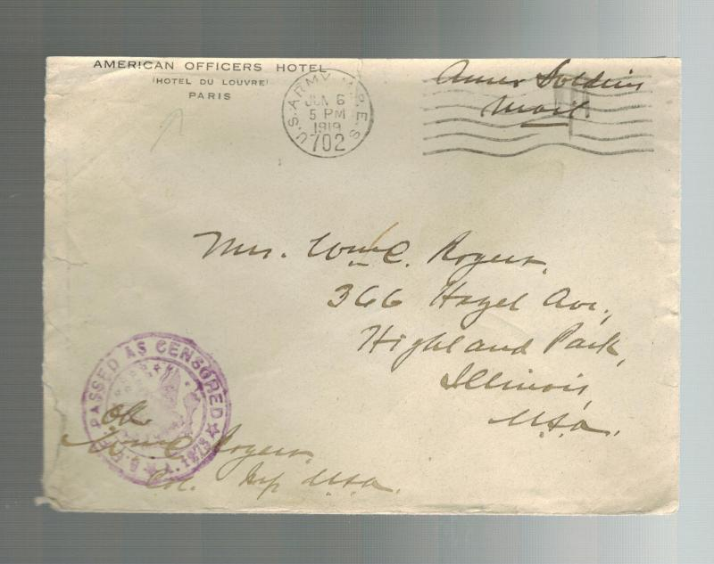 1919 WW 1 USA AEF Officers Hotel American Expeditionary Force France Cover to US