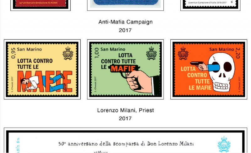 COLOR PRINTED SAN MARINO 2011-2018 STAMP ALBUM PAGES (46 illustrated pages)