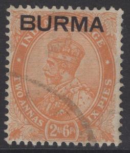BURMA SG6 1937 2½a ORANGE FINE USED