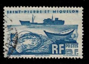ST PIERRE & MIQUELON Scott # 338 Used 1 - Fishing Trawler & Fish