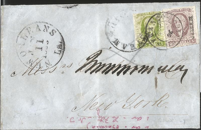J) 1857 MEXICO, EIGHT REALES, TWO REALES, MULTIPLE STAMPS, CIRCULATED COVER, FRO