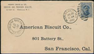 HAWAII #39 ON COVER TO AMERICAN BISCUIT Co. SAN FRANCISCO, VF JULY20,1892 BP9698