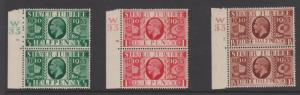 Great Britain Sc#226-228 Control Pairs Mint Hinged on top stamp only