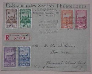 LUXEMBOURG  FDC 1936 REGISTERED 2 US BACKSTAMP
