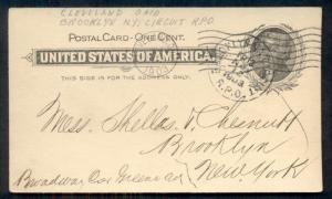 1903 1¢ postal card w/scarce BROOKLYN NY CIRCUIT R.P.O. TR13 Streetcar cancel