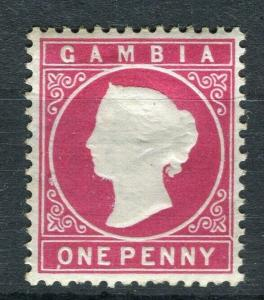 GAMBIA; 1886 classic QV Crown CA issue Mint hinged Shade of 1d. value