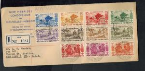 1953 New Hebrides Cover to USA French Complete Set # 83-93