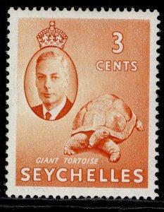 SEYCHELLES GVI SG159, 3c orange, M MINT.