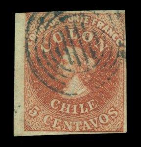 CHILE 1854  COLUMBUS  5c hazelnut  Scott # 3 used  VF