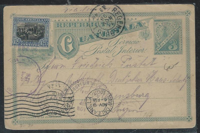 GUATEMALA  (PP2706B) 1908 3C PSC UPRATED 12 1/2C TO GERMANY