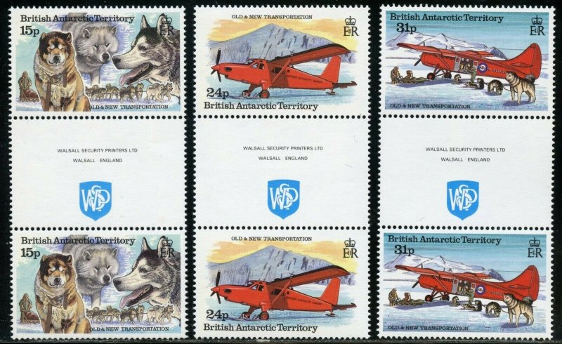 BRITISH ANTARCTIC TERRITORY SCOTT#218/23 GUTTER PAIRS MINT NH-SCOTT VALUE $28.00