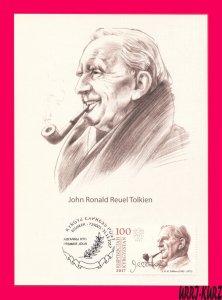 KYRGYZSTAN 2017 Famous People Writer John Ronald Reuel Tolkien Maxicard Card