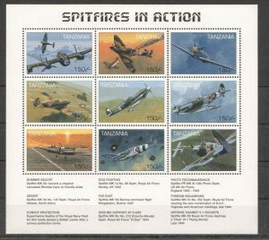 PK235 TANZANIA WORLD WAR 2 AVIATION SPITFIRES IN ACTION SH MNH STAMPS