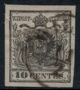 Austria-Lombardy-Venetia #3  CV $200.00 4 margin stamp, tiny cut in from margin