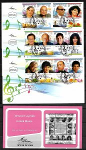 ISRAEL STAMPS 2009. ISRAELI MUSIC SET OF 3 FD COVERS + LEAFLET/BULLETIN