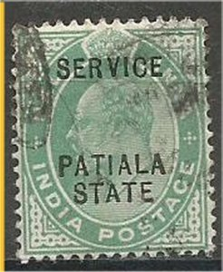 PATIALA, 1903, used 1/2a,  OFFICIAL Scott O20