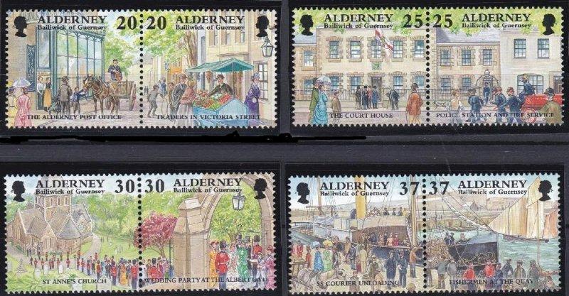 Alderney 1998, Garrison Island  MNH Pairs set # 120a,122a,124a,126a