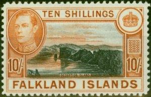 Falkland Islands 1938 10s Black & Orange-Brown SG162 V.F MNH