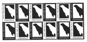 Save The Seals Greenpeace sheet of 12 MNH Charity Cinderella Poster Stamps