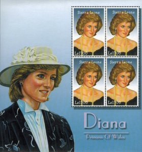 Sierra Leone MNH S/S Princess Diana Of Wales In White Hat