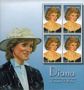 Sierra Leone MNH S/S Princess Diana In White Hat