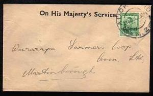 NEW ZEALAND 1946 OHMS cover with GVI 1d green Official ex Auckland........33531