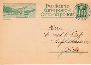 Switzerland 1928 10c Postal Card Nice Adelboden Bild Niederlenz CDS to Zurich