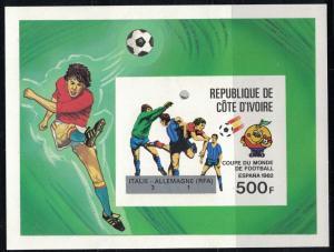 Ivory Coast SC605 Souv.Sht. SoccerPlayers MNH Imperf 1981