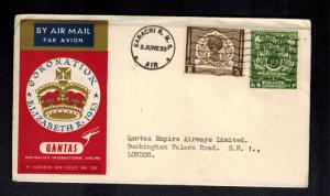 1953 Pakistan QE II Coronation First Day Cover England Queen Elizabeth Qantas