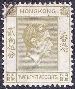 HONG KONG 1946 25c Pale Yellow-Olive SG150 Used