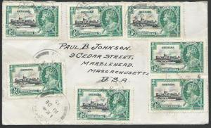 GRENADA 1935 cover to USA, Jubilee ½d franking (7).........................53185