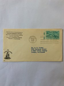 1949 Annapolis Tercentenary 3c First day cover. Annapolis post mark to Fresno.