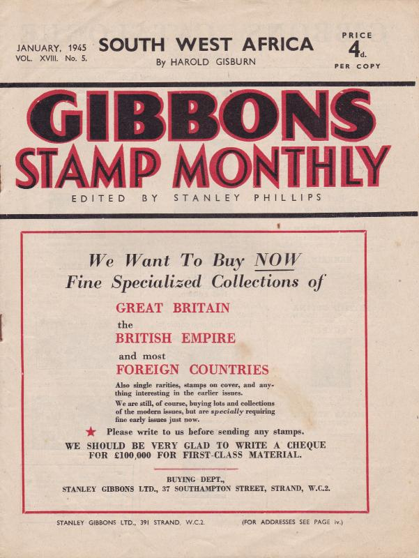Gibbons Stamp Monthly January 1945 Very Good Condition No Tears All Pages