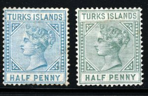 TURKS ISLANDS 1882-85 Die I Both Half Penny Shades SG 53 & SG 53a MINT