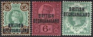 BRITISH BECHUANALAND 1891 QV GB 4D 6D AND 1/-