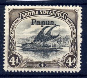 Papua 1906 sg 17 4d wmk horz. Large opt thick paper, LM