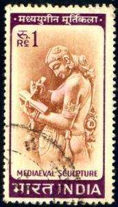 Mediaeval Sculpture, India stamp SC#419 Used