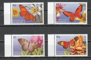 Dominica, Scott cat. 2484-2487. Butterflies & Flowers issue.