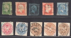 Germany (PRUSSIA) #1, 2, 4, 10, 12, 17, 18, 20 x2 and 20a USED