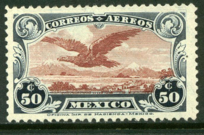 MEXICO C2, 50cents EARLY AIR MAIL STAMP. MINT, NH. F-VF..