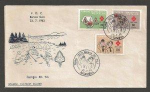 1962 Boy Girl Scout Turkey 50th anniversary FDC Istanbul