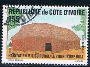 Ivory Coast 876, 155fr Hut, Sirikukube Dida, used, VF