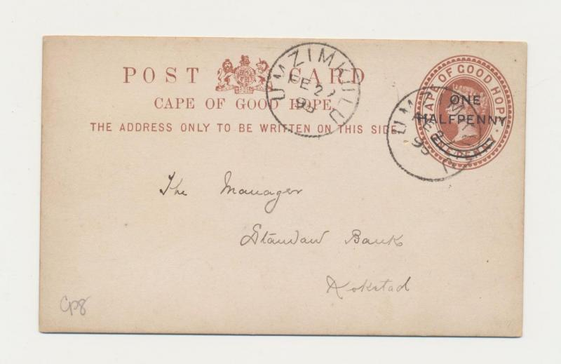CAPE OF GOOD HOPE 1895, UMZIMKULU TO KOKSTAD, ½d on 1d CARD
