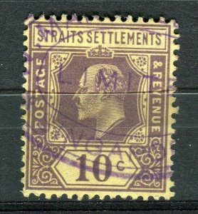 STRAITS SETTLEMENTS; Early 1900s fine used Ed VII issue Fiscal cancel on 10c
