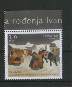 CROATIA-MNH-STAMP-100 YEARS OF BIRTH IVAN GENERALIC-PAINTER-2014.