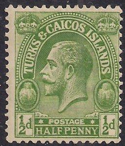 Turks & Caicos 1922 - 26 KGV 1/2d Green  MM SG 163  ( R930 )