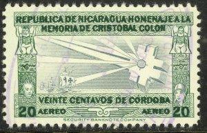 NICARAGUA 1945 20c COLUMBUS LIGHTHOUSE Airmail Issue Sc C266 VFU